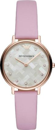 Ladies Kappa Rose Gold Plated Lilac Strap Watch Ar11130
