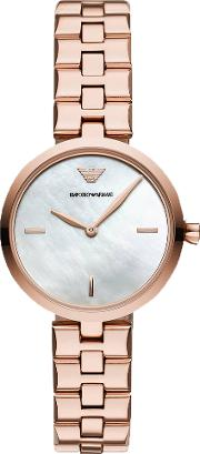 Ladies Rose Gold Plated Mother Of Pearl Dial Bracelet Watch Ar11196