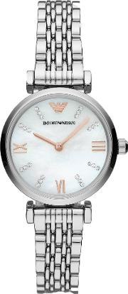 Ladies T Bar Stainless Steel Mother Of Pearl Stone Set Dial Bracelet Watch Ar11204