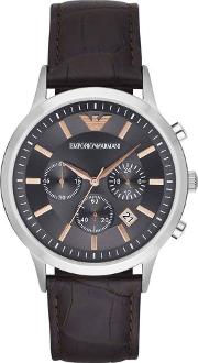 Mens Chronograph Brown Leather Strap Watch Ar2513