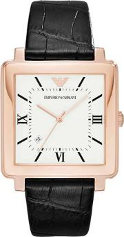 Mens Rose Gold Plated Strap Watch Ar11075