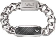 Mens Stainless Steel And Black Acetate Chain Link Bracelet Egs1688040