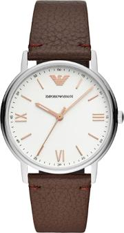 Mens White Dial Brown Leather Strap Watch Ar11173