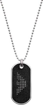 Signature Stainless Steel Black Leather Tag Necklace Egs2547040