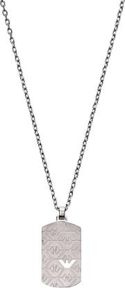 Signature Stainless Steel Dog Tag Pendant Necklace Egs2600040
