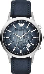 Stainless Steel Blue Dial Chronograph Blue Strap Watch Ar2473
