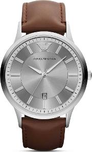 Stainless Steel Round Silver Dial Brown Strap Watch Ar2463