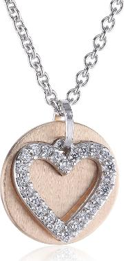 Rose Gold Plated Silver Cz Heart And Disc Pendant Esnl92274a420