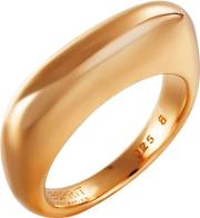 Rose Gold Plated Silver Plain Curved Oblong Ring Elrg91924c180