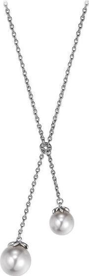 Silver Double Synthetic Pearl Drop Necklace Esnl92311a400