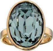 Gold Plated Oval Pale Blue Crystal Ring R3112