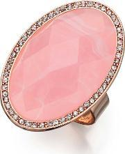 Rose Gold Plated Oval Pink Cubic Zirconia Adjustable Ring R3335