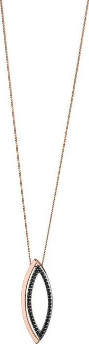 Ladies Rose Gold Plated Marquise Open Pendant P4390b