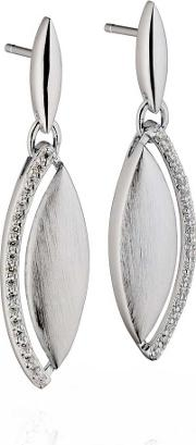 Ladies Sterling Silver Cubic Zirconia Marquise Dropper Earrings E5185c