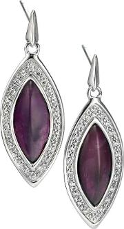 Silver Amethyst Pave Marquise Dropper Earrings E5003m