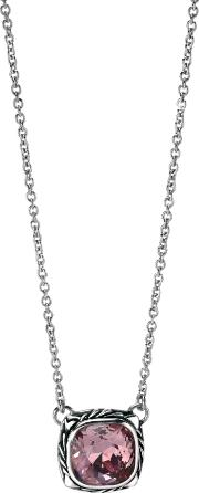 Silver Pink Faceted Crystal Square Necklace N3527p