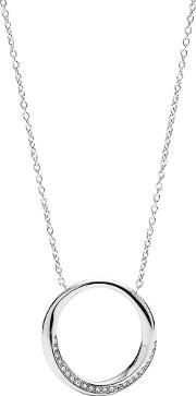 Classics Stainless Steel Crystal Open Circle Pendant Necklace Jf03018040