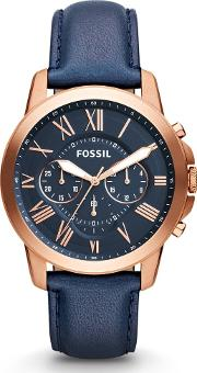 Grant Chronograph Navy Leather Strap Watch Fs4835