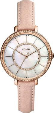 Ladies Jocelyn Rose Gold Plated Mother Of Pearl Pink Leather Strap Watch Es4455