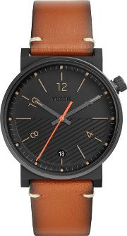 Mens Barstow Stainless Steel Black Dial Brown Leather Strap Watch Fs5507