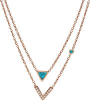 Rose Gold Plated Teal Two Row Necklace Jf02644791