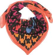 Polyester Square Black Orange Multi Coloured Scarf 625129 470