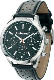Chronograph Dial Leather Strap Watch Z828