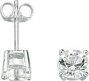 Mens Silver Crystal Stud Earrings E2657c