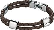Stainless Steel Double Brown Leather Bracelet B4417