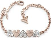 Heart Bouquet Rose Gold Plated Crystal Heart Bracelet Ubb85102 L