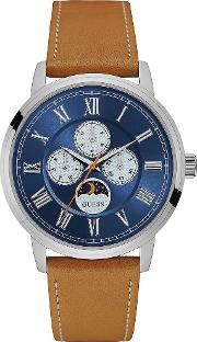 Mens Blue Brown Leather Strap Watch W0870g4