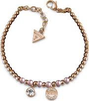 Rose Plated Uptown Chic Pink Pearl Logo Coin Bracelet Ubb28051 L