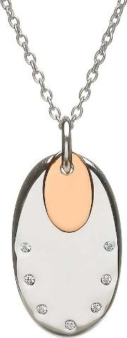 Silver Cubic Zirconia Oval Rose Gold Plated Pendant H 40020