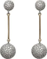 Silver Cubic Zirconia Rose Gold Bar Earrings H 30004