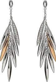 Silver Cubic Zirconia Rose Gold Feather Dropper Earrings H-30003