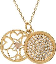 Silver Gold Plated Cubic Zirconia Disc Pendant H-40013