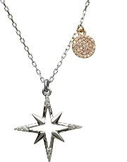 Silver Rose Gold Cubic Zirconia Star And Disc Pendant H 40030