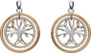 Silver Rose Gold Cubic Zirconia Tree Of Life Earrings H 30018
