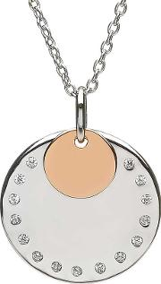 Silver Rose Gold Plated Cubic Zirconia Disc Pendant H 40019