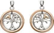 Silver Rose Gold Tree Of Life Earrings H-30017