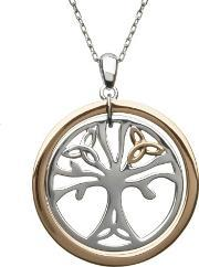Silver Rose Gold Tree Of Life Pendant H-40033