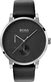 Mens Oxygen Black Leather Strap Watch 1513594