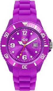 Ice Watch Purple Rubber Strap Round Purple Watch Si.pe.b.s.12
