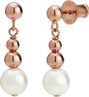 Coast Rose Gold Plated Grad Ball Pearl Earrings Coae Rg