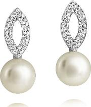 Freshwater Pearl Cubic Zirconia Dropper Earrings Ame3