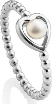 Sterling Silver Heart Beaded Freshwater Pearl Ring Ksr1 N
