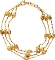 Essentials Gold Plated 3 Row Beaded Bracelet Med 5010.3675