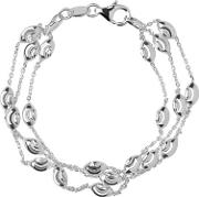Essentials Sterling Silver Beaded Three Row Bracelet 5010.2594