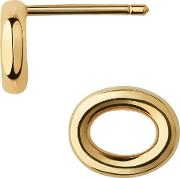 Ovals Gold Plated Open Oval Stud Earrings 5040.3317