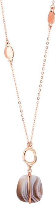 Ladies Bassa Rose Gold Plated Agate Loop Charm Necklace 1m0189 219000